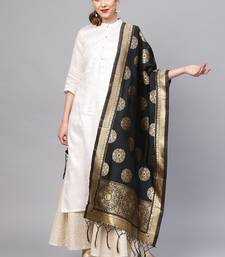Women Black Color Woven Traditional Dupatta
