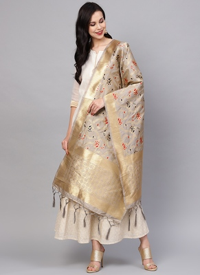 Women Grey Color Woven Traditional Dupatta