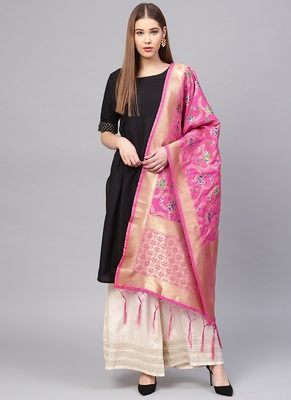 Women Rani Pink Color Woven Traditional Dupatta