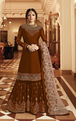 Mustard embroidered satin salwar