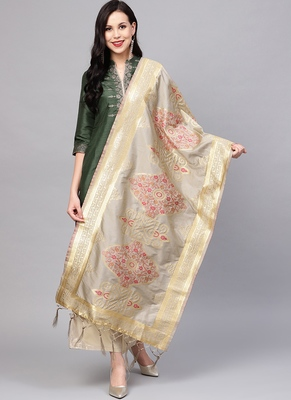 Women Light Grey Color Woven Traditional Dupatta