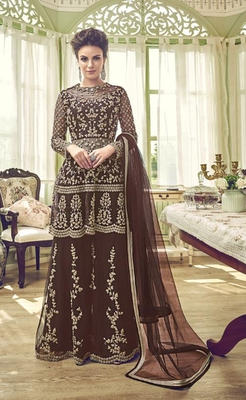 Brown embroidered net semi stitched salwar with dupatta