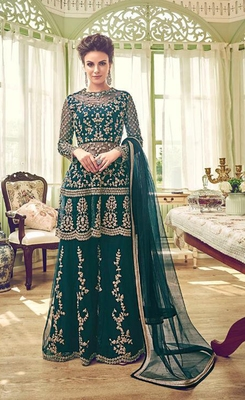 Sea-green embroidered net semi stitched salwar with dupatta