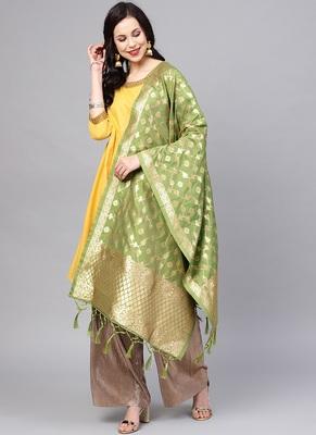 Women Pear Green Color Woven Traditional Dupatta