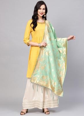 Women Mint Green Color Woven Traditional Dupatta