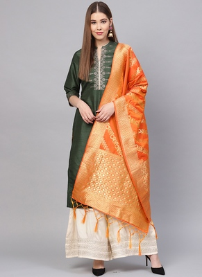 Women Dark Orange Color Woven Banrasi Dupatta