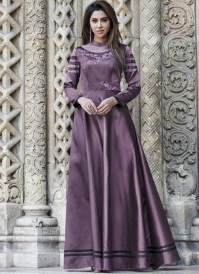 Violet embroidered silk long-kurtis