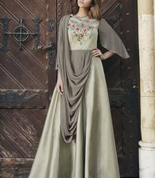 Beige embroidered silk long-kurtis