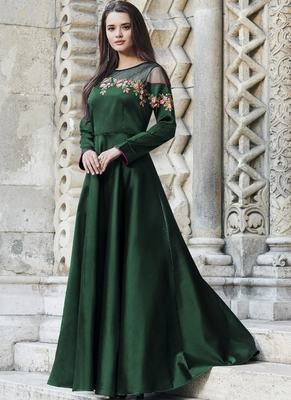 Green embroidered silk long-kurtis