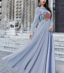 Aqua-blue embroidered silk long-kurtis