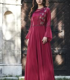 Maroon embroidered silk long-kurtis