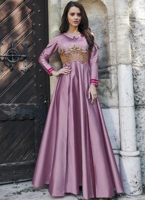 Dark-pink embroidered silk long-kurtis