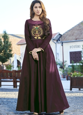 Dark-wine embroidered silk long-kurtis