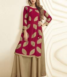 Blood-red printed rayon long-kurtis