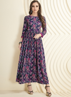 Multicolor printed rayon long-kurtis