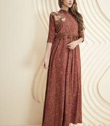Brown embroidered rayon long-kurtis