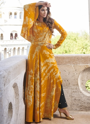Yellow printed rayon long-kurtis