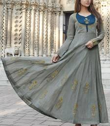 Grey embroidered satin long-kurtis