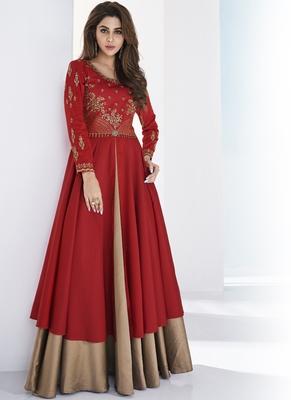 Red embroidered satin long-kurtis