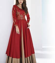 Red embroidered satin long-kurtis