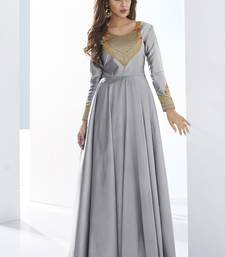 Grey embroidered satin long-kurtis