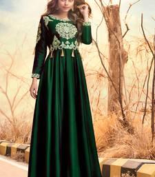 Dark-green embroidered satin long-kurtis
