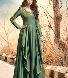 Sea-green embroidered satin long-kurtis