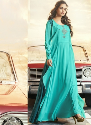 Turquoise embroidered georgette long-kurtis
