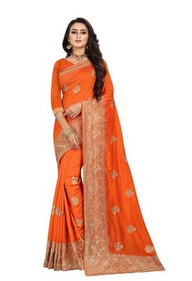 Orange Embroidered Cotton Silk Saree With Blouse