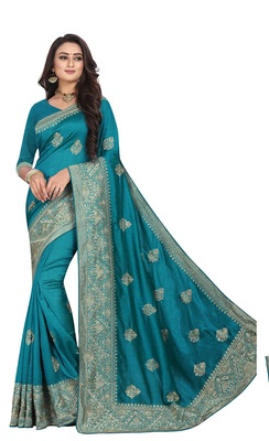 Blue Embroidered Cotton Silk Saree With Blouse