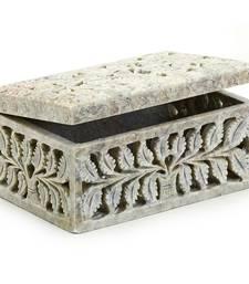 Stoneware Multiutility Box With Leaf Design