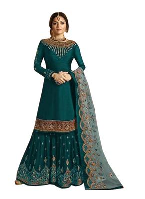Green Printed Georgette Salwar