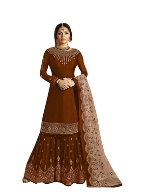 Brown Printed Georgette Salwar