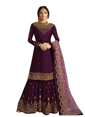 Purple Printed Georgette Salwar