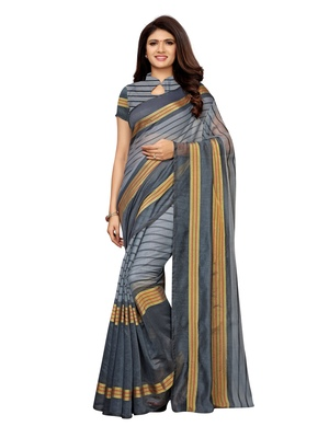 Grey Woven Chanderi Saree With Blouse