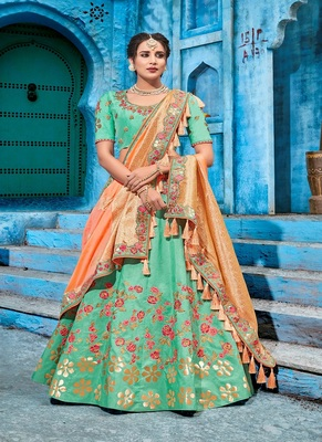 Sea-green embroidered silk semi stitched lehenga