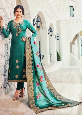 Turquoise embroidered silk salwar