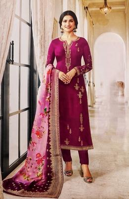 Purple embroidered silk salwar