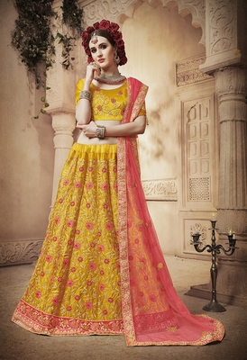 Yellow embroidered silk semi stitched lehenga