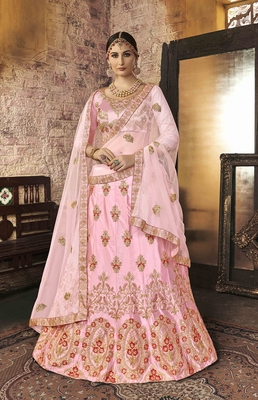 Light-pink embroidered silk semi stitched lehenga