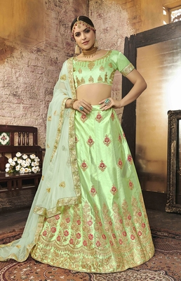 Light-green embroidered silk semi stitched lehenga