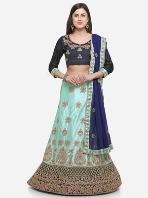 Light-blue embroidered silk semi stitched lehenga