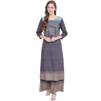 Grey printed rayon kurtas-and-kurtis