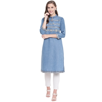 Blue embroidered cotton kurtas-and-kurtis