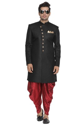 Black Plain Blended Cotton Sherwani