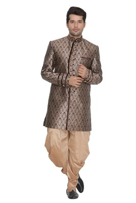 Brown Plain Blended Cotton Sherwani
