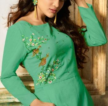 Green embroidered rayon embroidered-kurtis