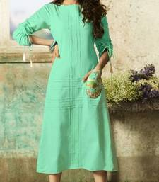 Light-green embroidered rayon embroidered-kurtis