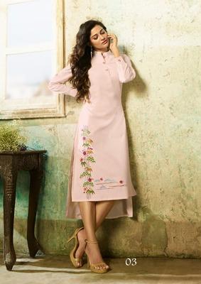 Light-pink embroidered rayon embroidered-kurtis