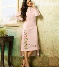 Light-pink embroidered rayon embroidered-kurtis